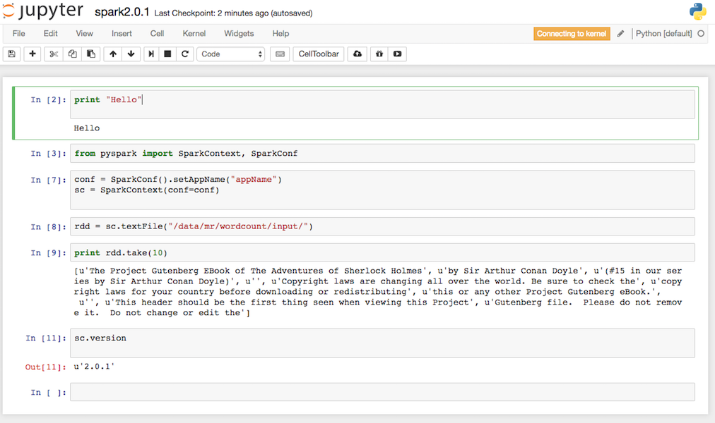 Running Python Spark 2.0.1 using jupyter